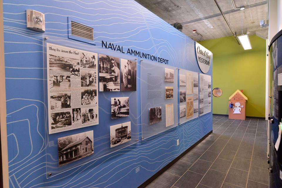 "Custom printed wall covering creates back drop for historical ""yesterday and today"" exhibit."